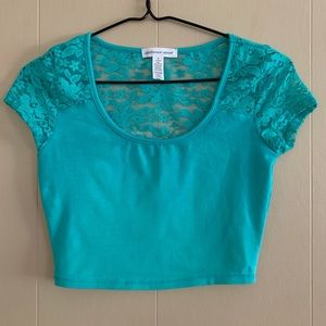 Ambiance Apparel | Lace Detail Crop Top